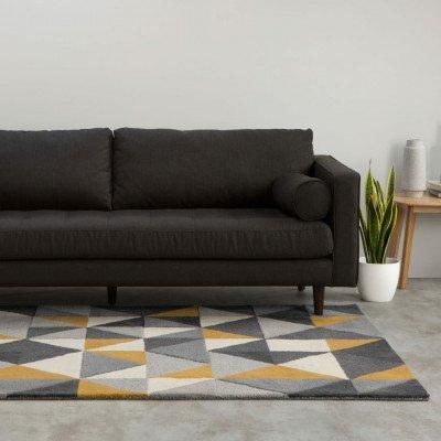 MADE.COM Henrik handgetuft wollen vloerkleed 120 x 180 cm, geel en grijs