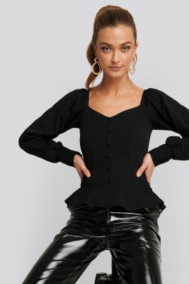 NA-KD Trend NA-KD Trend Peplum Jersey Top - Black