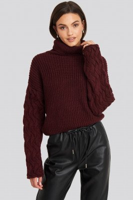 NA-KD Trend NA-KD Trend Cable Sleeve High Neck Sweater - Red