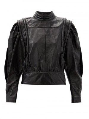 Matchesfashion Isabel Marant - Lars Balloon-sleeve Leather Blouse - Womens - Black