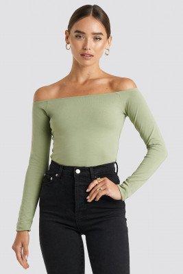 NA-KD Basic Long Sleeve Off Shoulder Top - Green