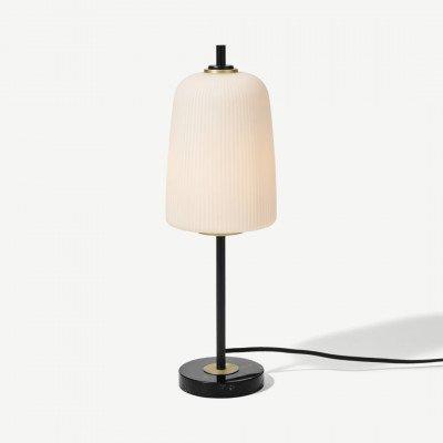 MADE.COM Ayala tafellamp, zwart, geborsteld messing en opaalglas