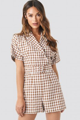 NA-KD Trend Checked Playsuit - Brown,Multicolor