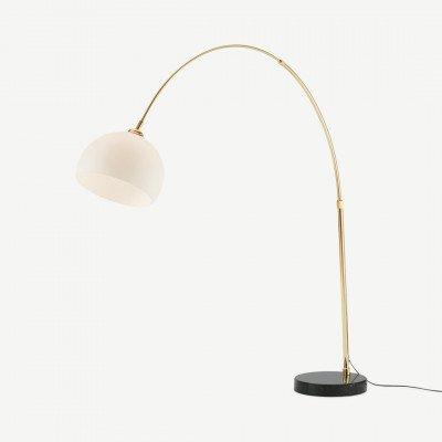 MADE.COM Bow grote booglamp, messing, zwart marmer en opaalglas