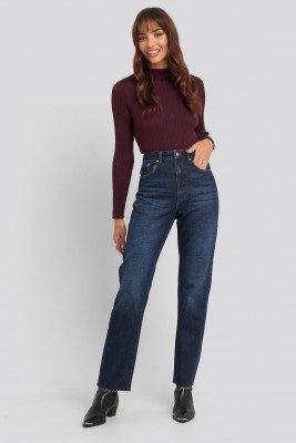 NA-KD NA-KD High Waist Raw Hem Straight Jeans - Blue