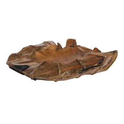 Drace wood teak bowl carved ribbed top round l