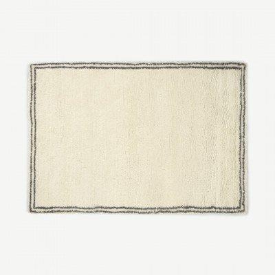 MADE.COM Heijer gewassen shaggy vloerkleed van 100% wol, groot, 160 x 230 cm, roomwit en zwart