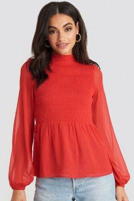 NA-KD Boho Shirred High Neck Blouse - Red