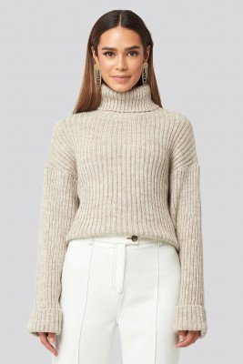 NA-KD NA-KD Ribbed Knitted Turtleneck Sweater - Beige