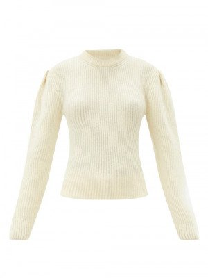 Lemaire - Balloon-sleeve Ribbed Wool Sweater - Womens - Ivory