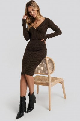 Adorable Caro x NA-KD Adorable Caro x NA-KD Rib Knitted Skirt - Brown
