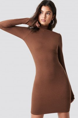 Nicki x NA-KD Nicki x NA-KD High Neck Bodycon Dress - Brown