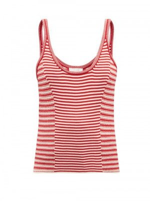 Matchesfashion Chloé - Scoop-neck Striped Cotton Knitted Tank Top - Womens - Red White