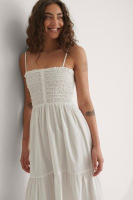 NA-KD by YOU NA-KD by YOU Maxi-Jurk Met Knoopdetail - White