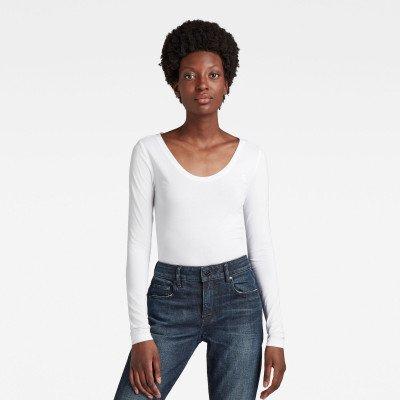 G-Star RAW Basic Round Neck Long Sleeve T-Shirt - Wit - Dames