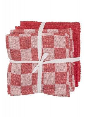 HEMA HEMA Thee-en Keukendoeken - Katoen - Rood - 4 Stuks (rood)