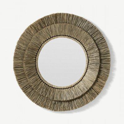 MADE.COM Semine spiegel met rond frame, 82 cm, sisal
