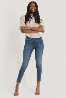 NA-KD NA-KD Powerstretch Skinny Jeans Met Hoge Taille - Blue