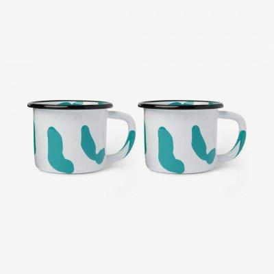 MADE.COM Kapka set van 2 Colour Swirl mokken, geemailleerd, groen
