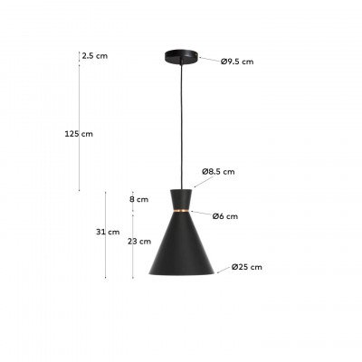 Kave Home Kave Home Hanglamp 'Vesta', kleur Zwart