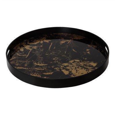 Firawonen.nl PTMD dania zwart dienblad hout rond met brons glas