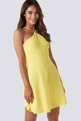 Trendyol Strap Detailed Mini Dress - Yellow