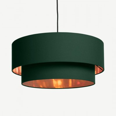 MADE.COM Oro gelaagde hanglampenkap, groen en koper