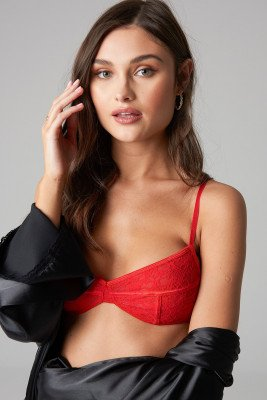 NA-KD Lingerie NA-KD Lingerie Thin Strap Flower Lace Bra - Red