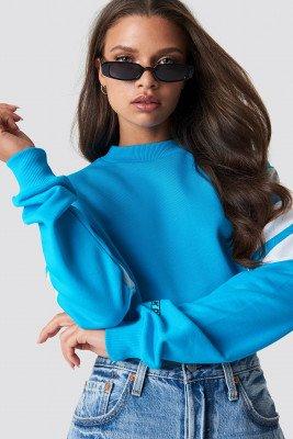 NA-KD NA-KD Blocked Bicep Sweatshirt - Blue