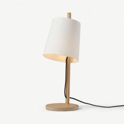 MADE.COM Sveinn houten tafellamp, hout en wit