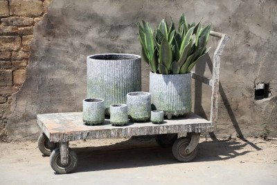 PTMD PTMD Pot 'Zella', Cement, 42 x 40cm, kleur Groen