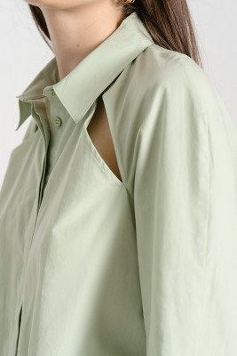 nu-in 100% Organic Cut Out Volume Sleeve Shirt