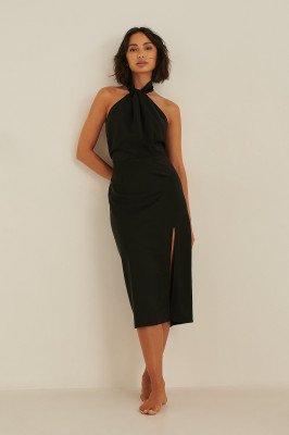 Rianne Meijer x NA-KD Rianne Meijer x NA-KD Gerecycleerde En Gedraaide Midi-jurk Met Een Nek - Black