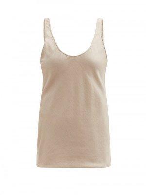 Matchesfashion Gabriela Hearst - Kori Scoop-neck Silk-blend Twill Camisole - Womens - Camel