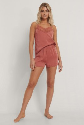 NA-KD Lingerie NA-KD Lingerie Lace Edge Night Satin Shorts - Pink