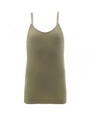 Matchesfashion Domi - Rickrack-trim Organic-cotton Blend Jersey Camisole - Womens - Khaki