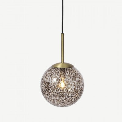 MADE.COM Julia hanglamp, bruin gevlamd glas en messing