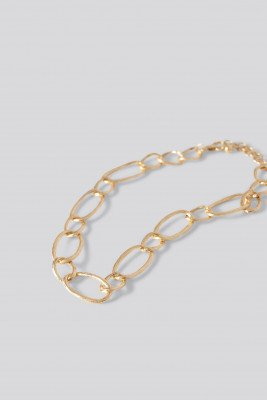 NA-KD Accessories Uneven Loop Chain Necklace - Gold
