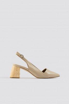 NA-KD Shoes Wooden Heel Slingback Pumps - Beige