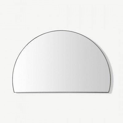MADE.COM Arles wandspiegel, halve cirkel, 54 x 85 cm, matzwart