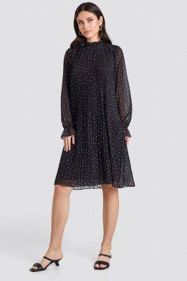 NA-KD NA-KD Pleated Dotted Dress - Black