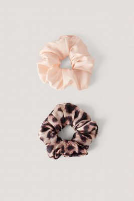 NA-KD Accessories 2-Pack Luipaard Scrunchies - Multicolor