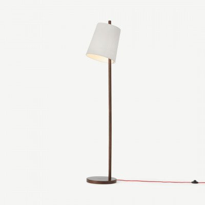 MADE.COM Sveinn houten staande lamp, grijs en wit