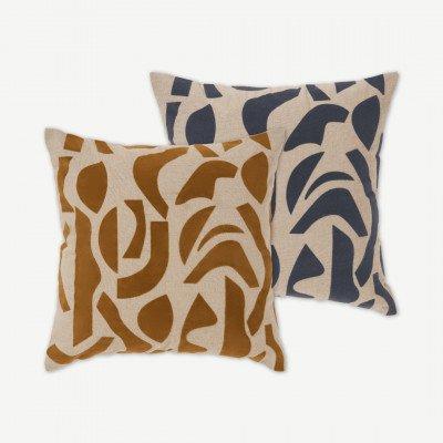 MADE.COM Lafant set van 2 kussens, 50 x 50 cm, meerkleurig