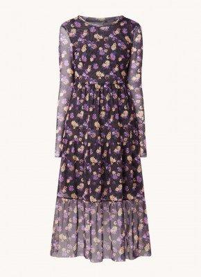 BAUM UND PFERDGARTEN Baum und Pferdgarten Jocelina midi jurk van mesh met bloemenprint