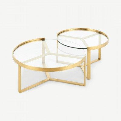 MADE.COM Aula salontafelset, geborsteld messing en glas