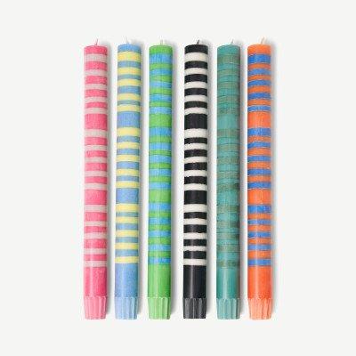 MADE.COM British Colour Standard set van 6 dungestreepte tafelkaarsen