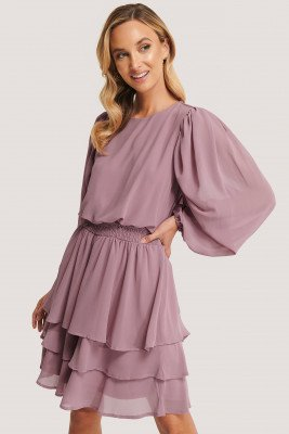 Sisters Point Sisters Point Mini-Jurk Met Ruches - Pink