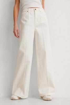 NA-KD Trend NA-KD Trend Organisch Jeans Met Wijde Pijpen - Offwhite