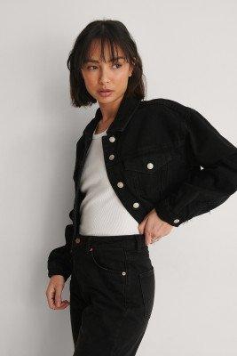 NA-KD NA-KD Organisch Versleten Jeans Met Ruwe Zoom - Black